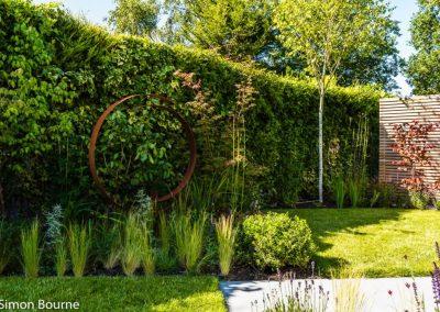 Corten steel hoop as sculpture