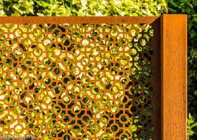 Corten steel patterned screen