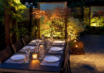 Table and chairs, Acer palmatum 'Burgundy Lace', backlit perspex screens, lighting