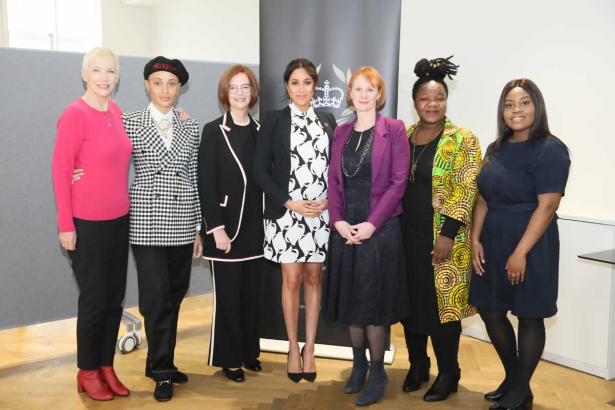 The International Women's Day panel at King's college. From left: Annie Lennox OBE, Adwoa Aboah, Julia Gillard, HRH The Duchess of Sussex, Anne McElvoy, who chaired the panel, Angeline Murimirwa and Chrisann Jarrett. Photo: The Queen's Commonwealth Trust